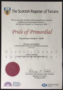 Pride of Primordial Tartan Registration