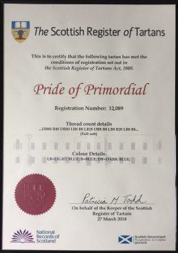Pride of Primordial Tartan Registration