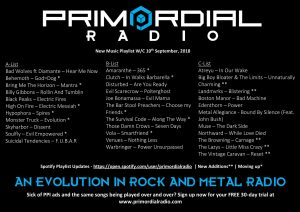 Primordial Radio Playlist Updates - 10th September 2018