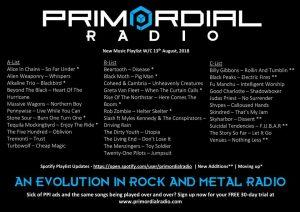 Primordial Radio Playlist Updates - 13th August 2018