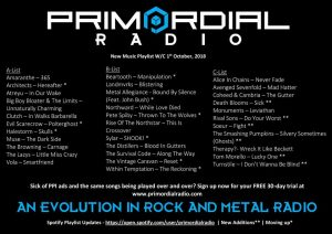 Primordial Radio Playlist Updates - 1st October 2018