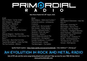 Primordial Radio Playlist Updates - 20th August 2018