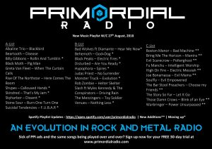 Primordial Radio Playlist Updates - 27th August 2018