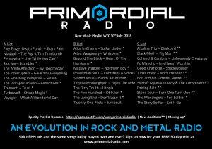 Primordial Radio Playlist Updates - 30th July 2018