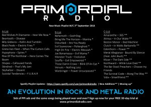 Primordial Radio Playlist Updates - 3rd September 2018