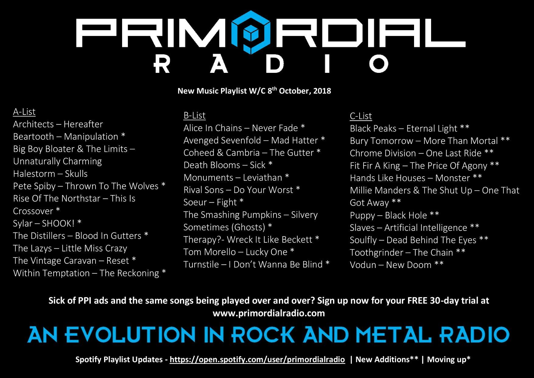 Primordial Radio Playlist Updates - 8th October 2019