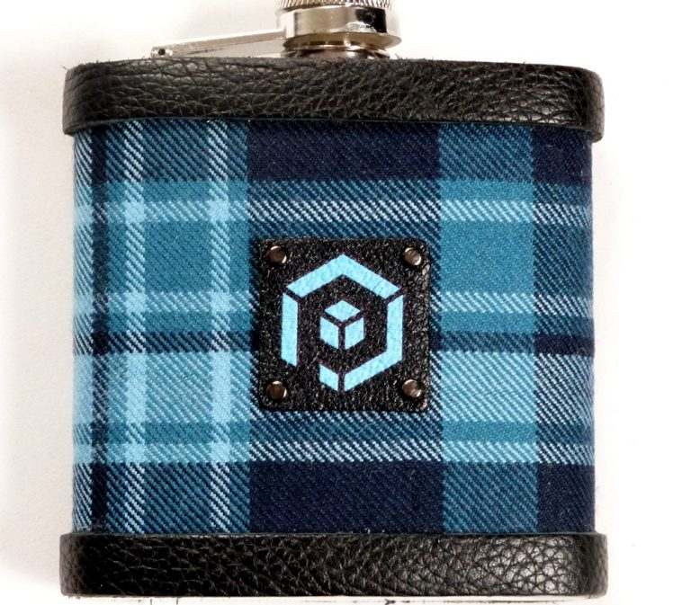Close up of Pride of Primorial Tartan Hipflask
