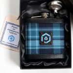 Pride of Primorial Tartan Hipflask in box