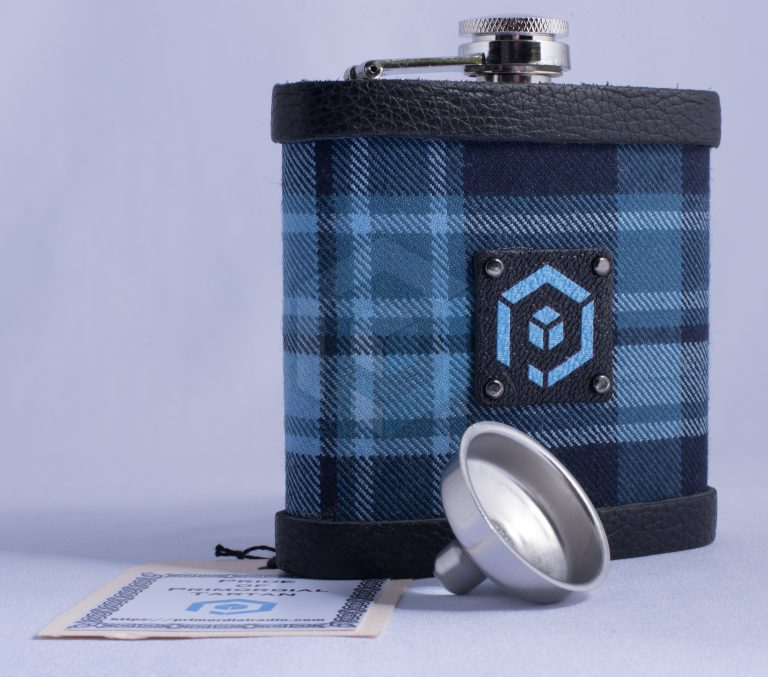 Pride of Primordial Tartan Hip Flask with funnel