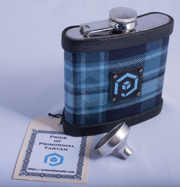 Pride of Primordial Tartan Hip Flask close up