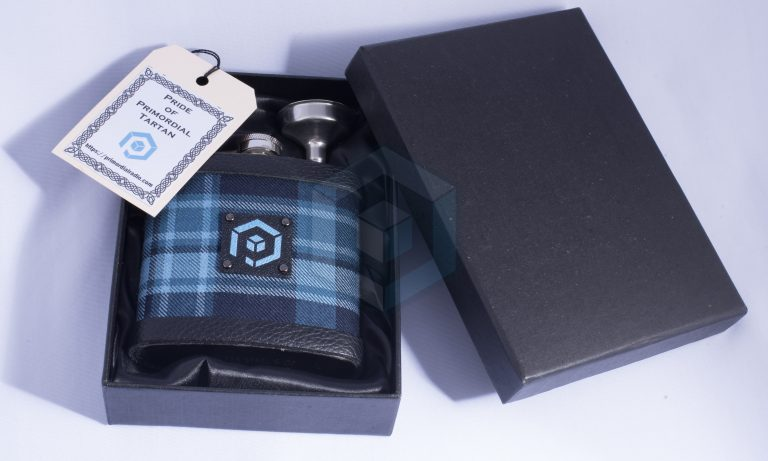 Pride of Primordial Tartan Hip Flask Gift box