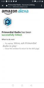 Primordial Radio Alexa Skill - Completed screenshot