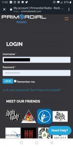 Login to your Primordial Radio Account Screenshot