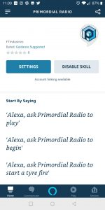 Primordial Radio Alexa Skill - Settings Screenshot