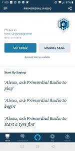 Primordial Radio Alexa Skill - Settings Screenshot
