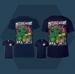 Massive Wagons Kings of the Monsters of Rock Navy Tshirt