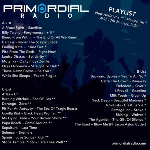 Primordial Radio Playlist Update 13th Jan 2020