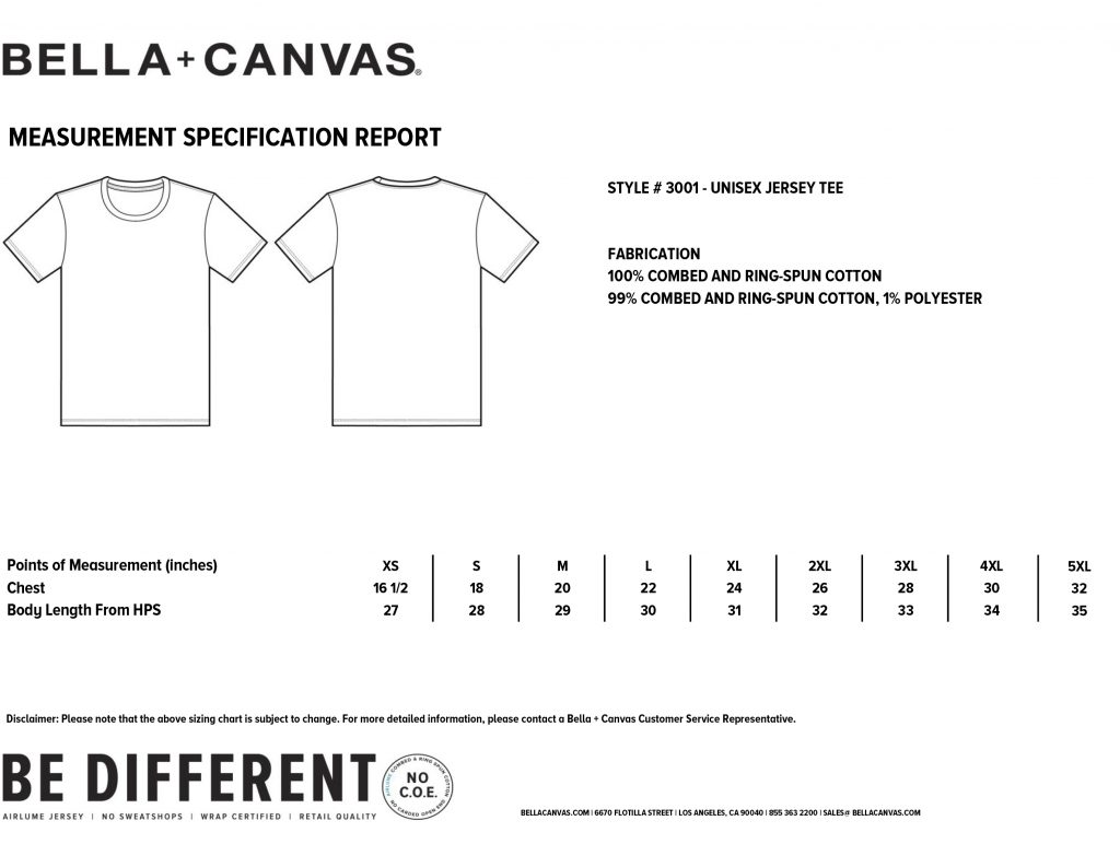 Canvas Unisex Crew Neck T-sizing guide
