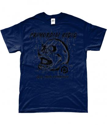 Black Skull on Blue TShirt