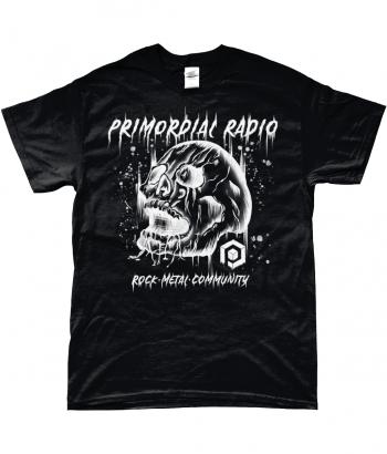 White Skull on Black TShirt