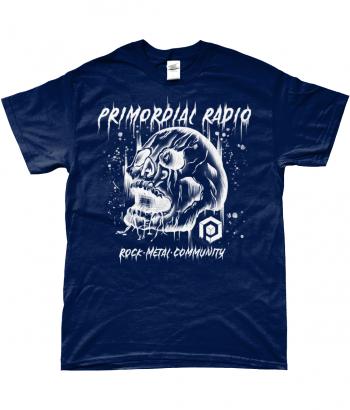 White Skull on Blue TShirt