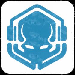 Blue Drinks Coaster with Primordial Radio 2021 Logo